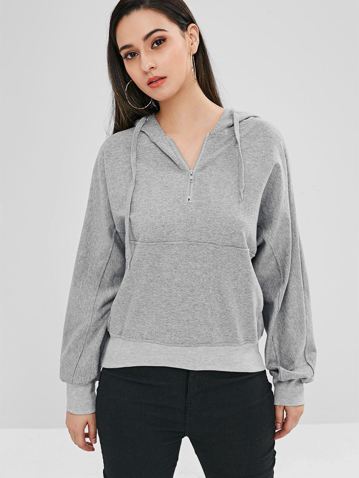 ZAFUL Drawstring Half Zip Pocket Hoodie, Gray cloud