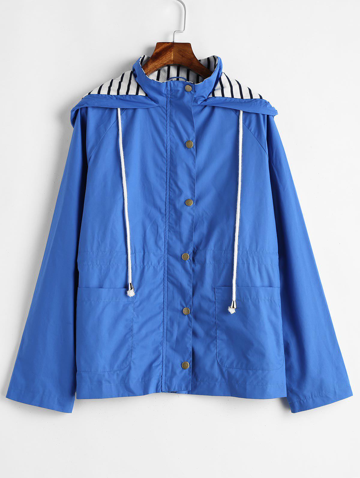 Stripes Panel Snap Button Hooded Jacket