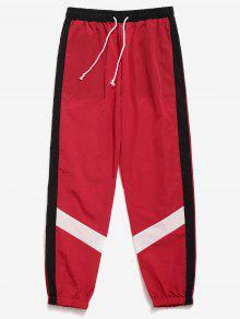 سروال لون كتلة مخطط بنطلون - أحمر L