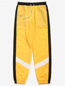 سروال لون كتلة مخطط بنطلون - الأصفر M