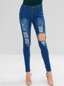 جينز ممزق - محيط أزرق L
