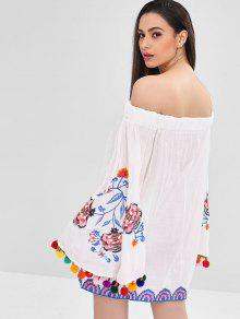 eac3880d927e 58% OFF] 2019 Flare Sleeve Embroidered Mini Pompom Dress In WHITE ...