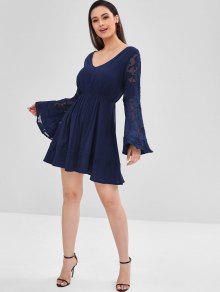 0cfde5cbe1 ... ZAFUL Flare Sleeve Semi Sheer Plunge Dress. new ZAFUL Flare Sleeve Semi  Sheer Plunge Dress - MIDNIGHT BLUE M