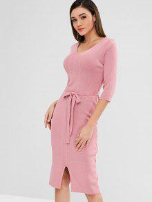 6f2ecfc5952 30% OFF  2019 Knit Pencil Sweater Dress With Belt In PINK