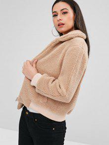 4c94733210 51% OFF] 2019 ZAFUL Fluffy Faux Shearling Winter Coat In CAMEL BROWN ...