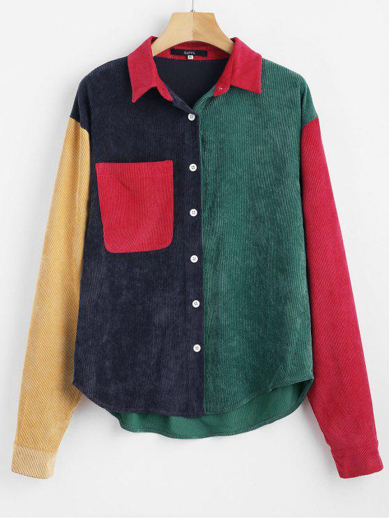 womens ZAFUL Patch Pocket Color Block Corduroy Shirt - MULTI L