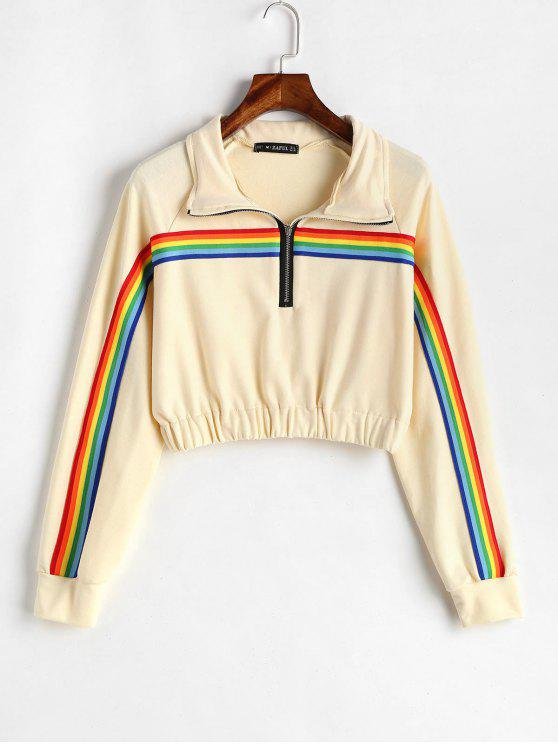 ladies ZAFUL Colorful Stripes Zip Front Sweatshirt - CORNSILK M