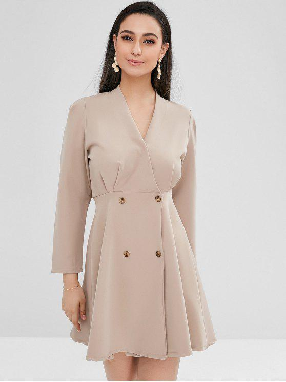 Double Breasted A Line Dress   Light Khaki by Zaful