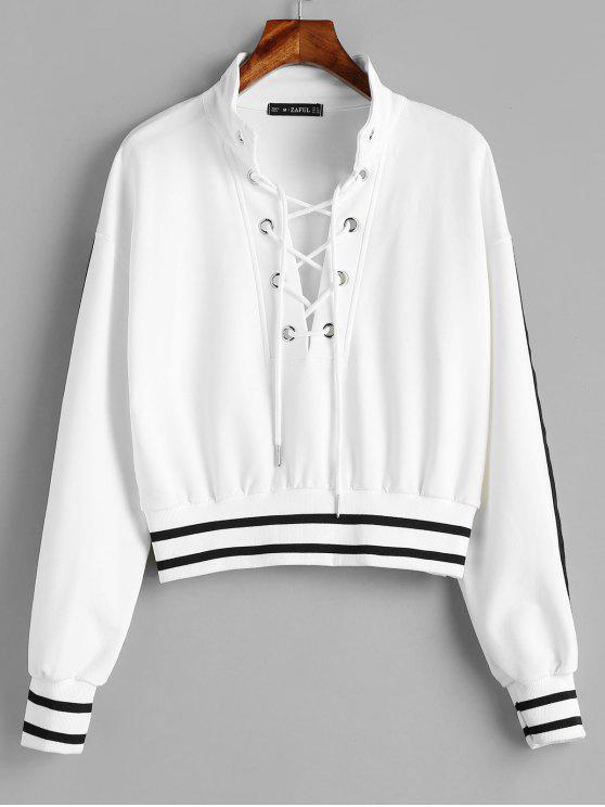 chic ZAFUL Stripes Lace Up Sweatshirt - WHITE L