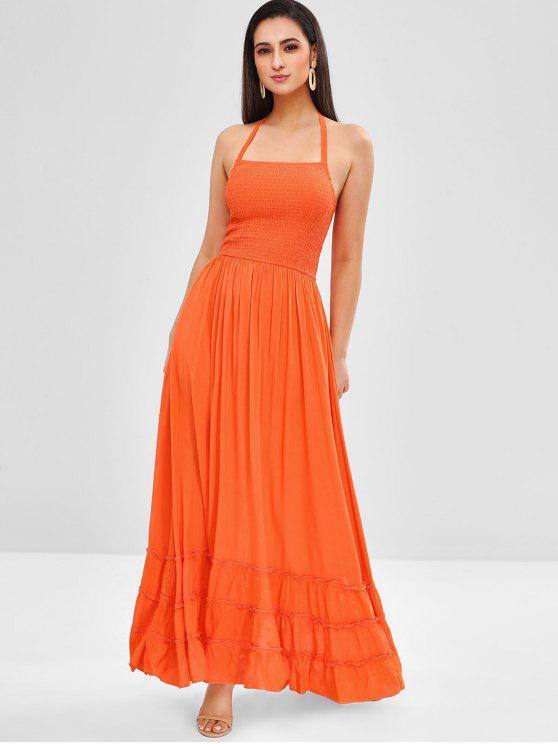 2019 Halter Smocked Bodice Maxi Dress In Orange Xl Zaful