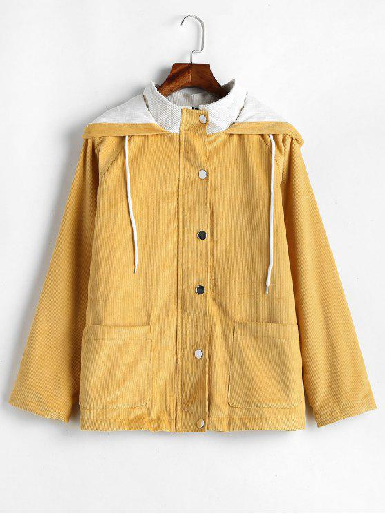 unique ZAFUL Snap Button Hooded Corduroy Jacket - GOLDEN BROWN M