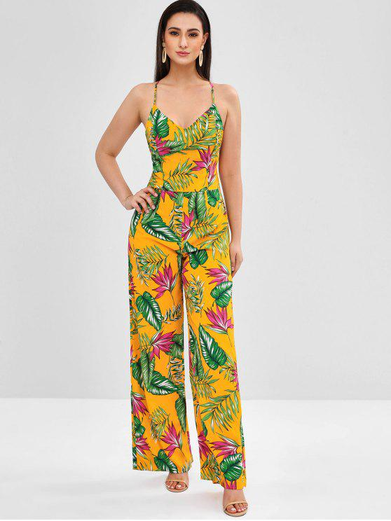 trendy Tropical Print Wide Leg Backless Jumpsuit - MUSTARD M
