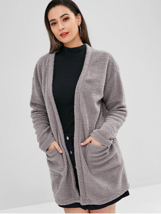 online Open Front Faux Fur Cardigan - DARK GRAY S