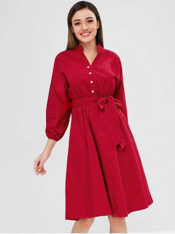 Robe Longueur à Genou Manches Lanternes à Demi-Bouton - Rouge Lave M
