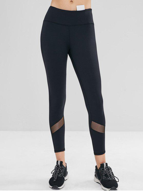 1c5b5da9fa6e6 28% OFF] 2019 Mesh Insert Hidden Pocket Ninth Leggings In BLACK | ZAFUL