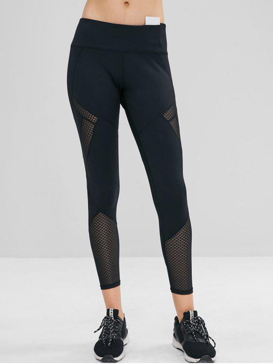 outfit Mesh Insert Wide Waistband Ninth Leggings - BLACK L
