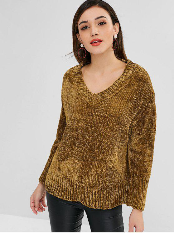 unique V Neck Chenille Loose Sweater - BROWN ONE SIZE