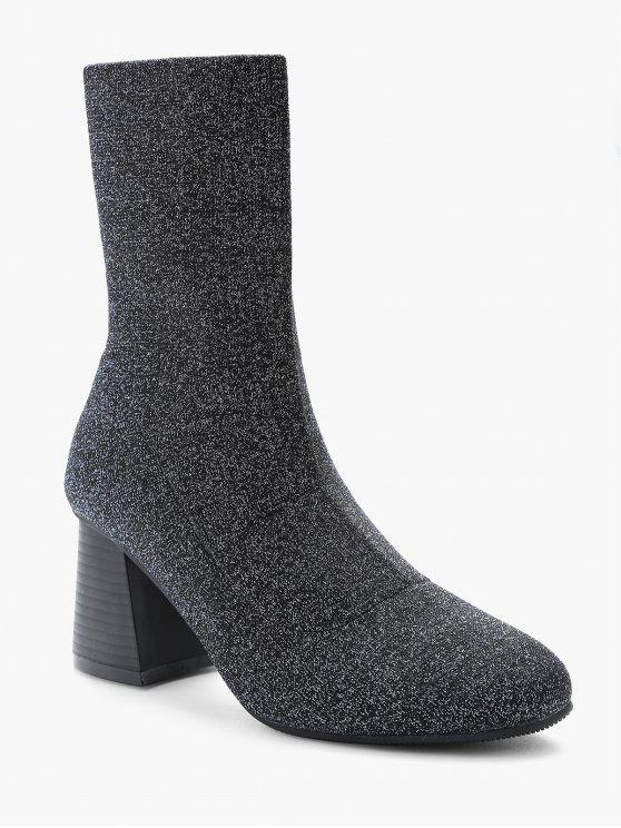 best Glitter Mid Heel Sock Mid Calf Boots - SILVER EU 36