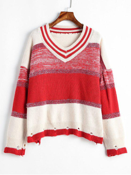 women Ripped Metallic Thread Color Block Sweater - MULTI-A ONE SIZE