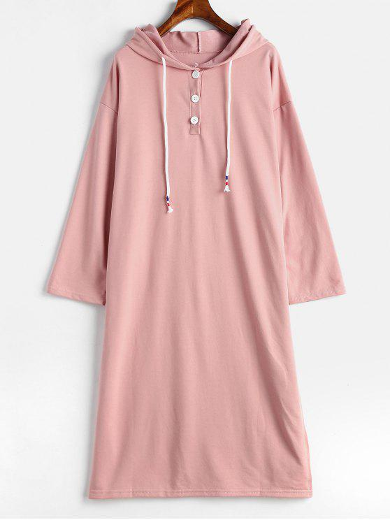sale Slit Hooded Casual Dress - LIGHT PINK ONE SIZE