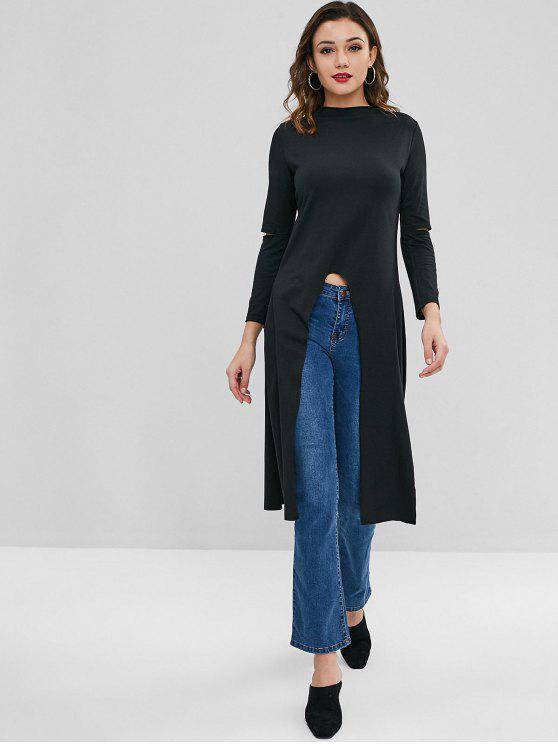 fashion High Low Slit Longline T-shirt - BLACK M