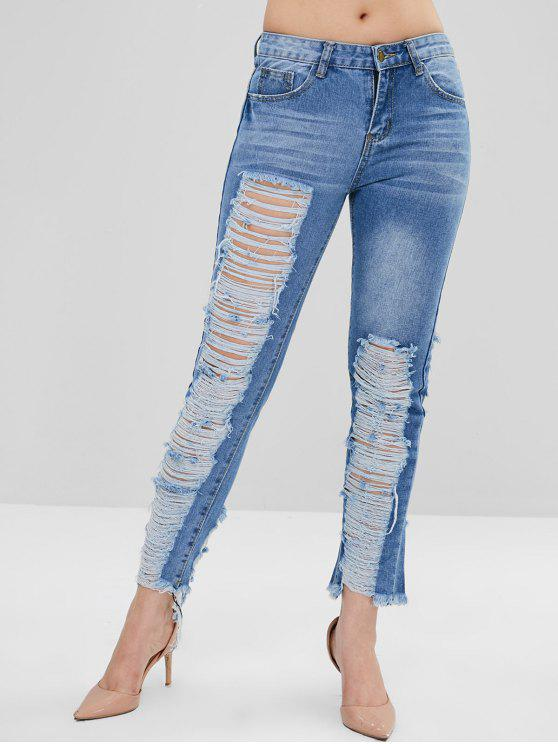 women Distressed Zipper Jeans - DENIM BLUE L