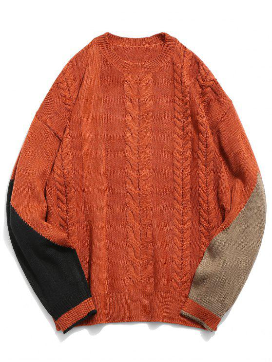 women Contrast Twist Cable Knitted Sweater - CHESTNUT RED L