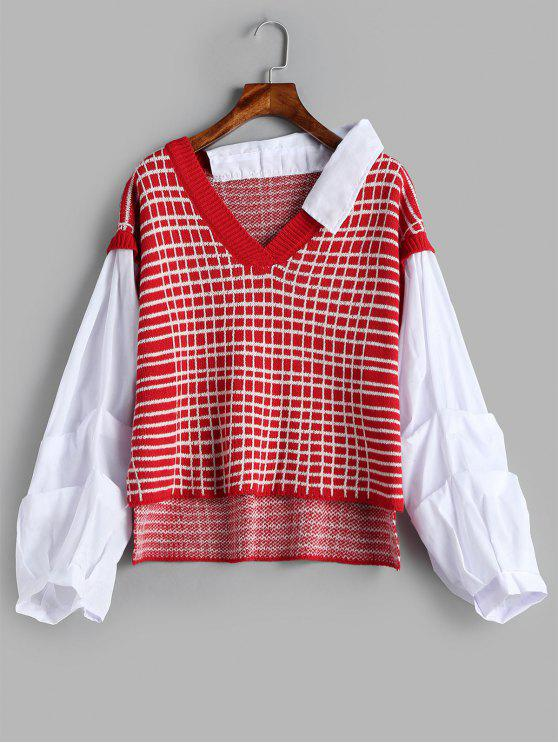 shops Plaid Panels High Low Sweater - RED ONE SIZE
