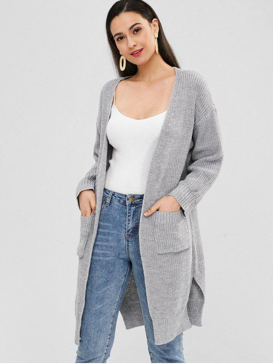sale Pockets Slit Open Front Cardigan - GRAY CLOUD ONE SIZE