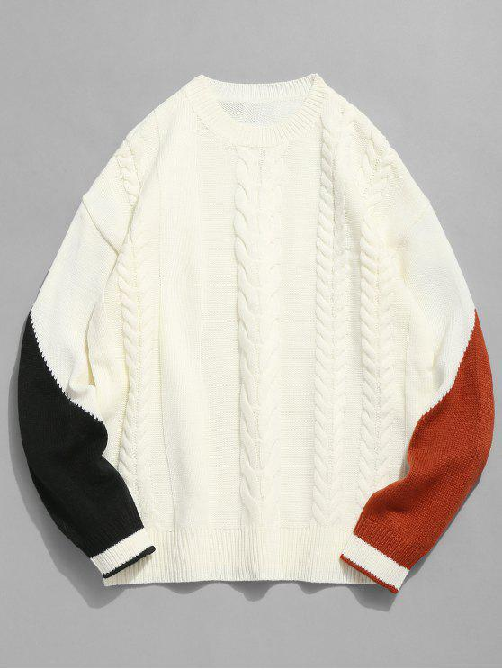 trendy Contrast Twist Cable Knitted Sweater - WHITE L