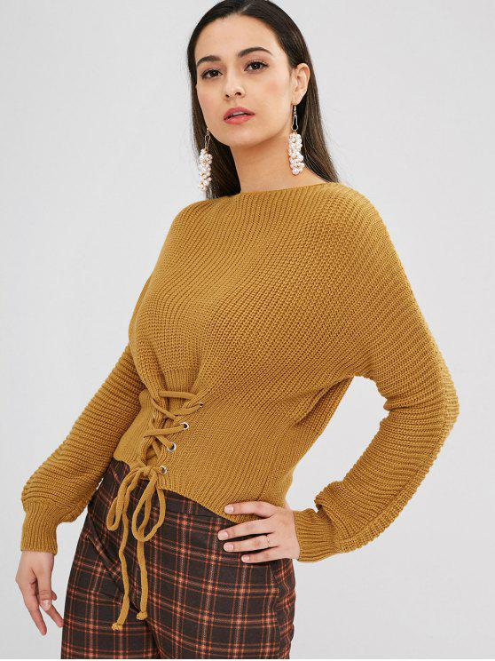 fancy Lace Up Batwing Sweater - CARAMEL ONE SIZE