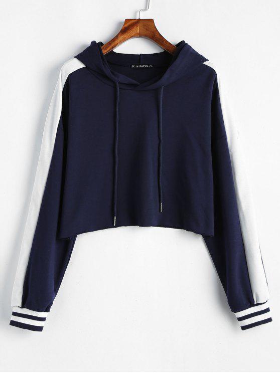 shop Raw Hem Stripes Cropped Hoodie - MIDNIGHT BLUE L