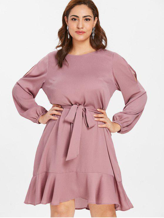 a9f015e18f62 24% OFF  2019 ZAFUL Belted Plus Size Flounce Dress In LIPSTICK PINK ...