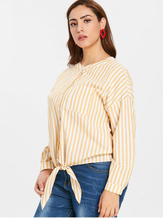 affordable ZAFUL Plus Size Knot Striped Blouse - RUBBER DUCKY YELLOW 1X