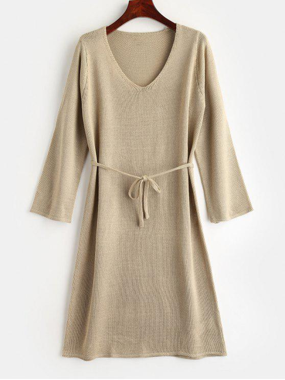 best Belt Sweater Dress - LIGHT KHAKI S