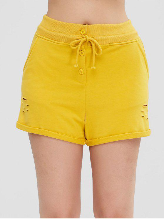 hot Distressed Pocket Rolled Shorts - YELLOW XL