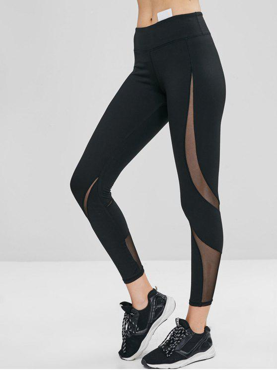chic Hidden Pocket Mesh Insert Gym Leggings - BLACK S