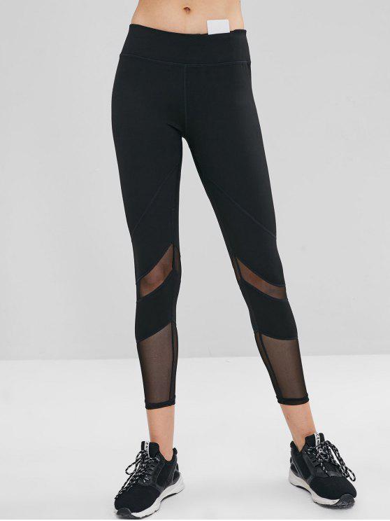 lady Mesh Insert Hidden Pocket Gym Leggings - BLACK S
