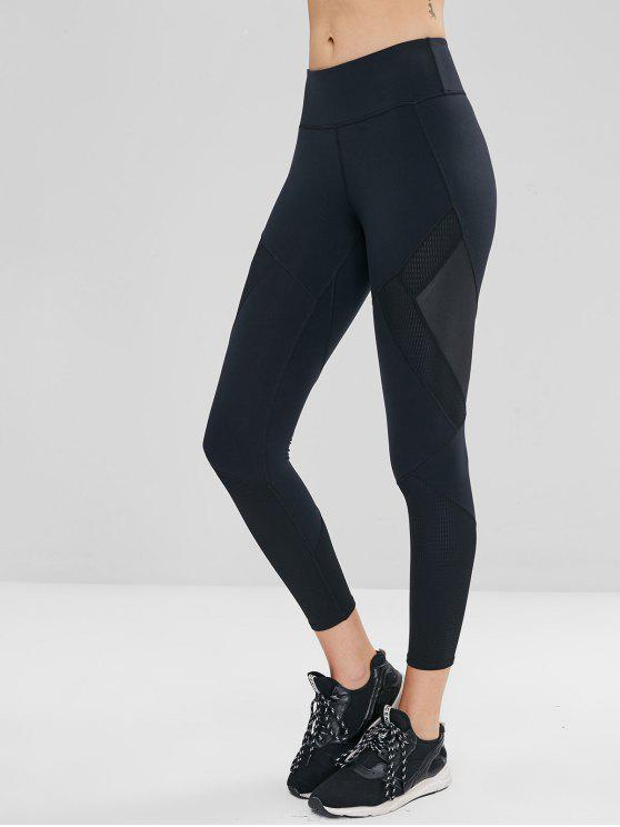 outfit Perforated Insert Wide Waistband Sports Leggings - BLACK M
