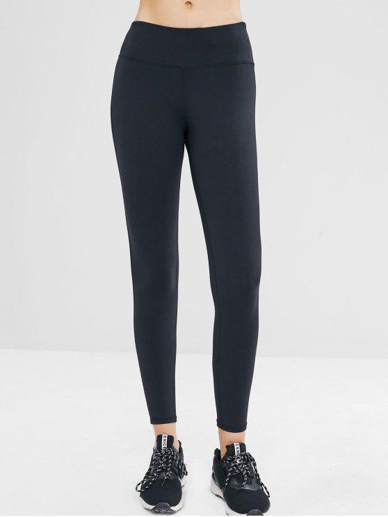 fashion Hidden Pocket Wide Waistband Gym Leggings - BLACK L