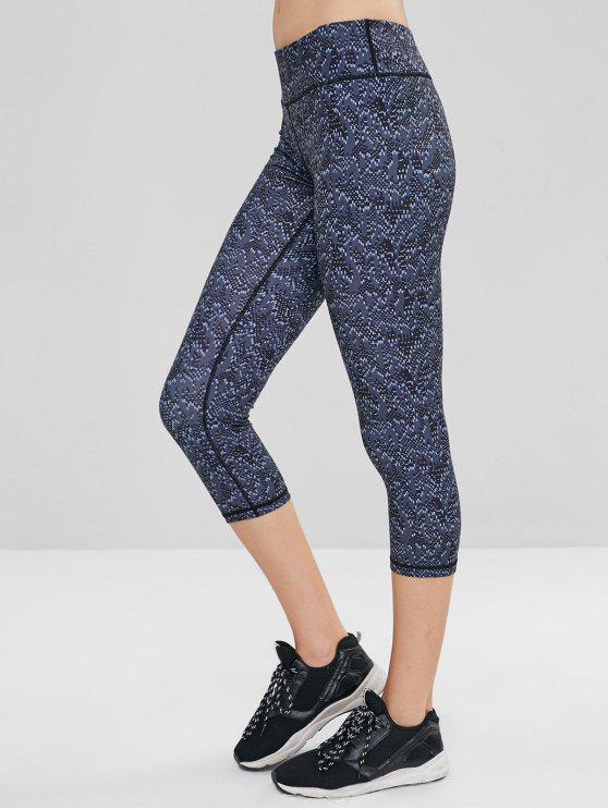 women Geometric Hidden Pocket Crop Gym Leggings - MULTI-A L
