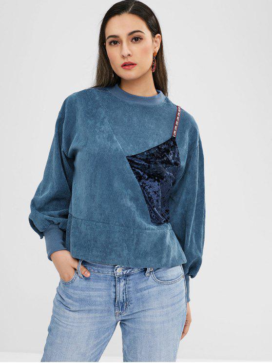 latest Slit Velvet Patched Corduroy Sweatshirt - SILK BLUE ONE SIZE