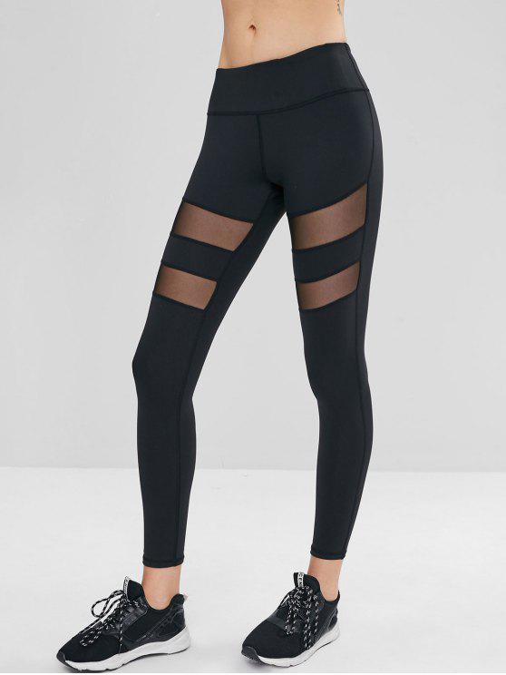 chic Mesh Insert Skinny Workout Leggings - BLACK L