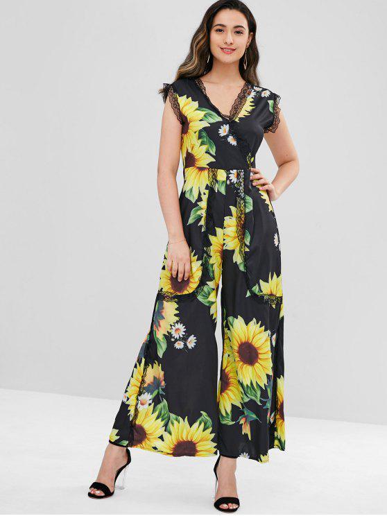 4c542735801 23% OFF  2019 Lace Insert Sunflower Wide Leg Jumpsuit In BLACK