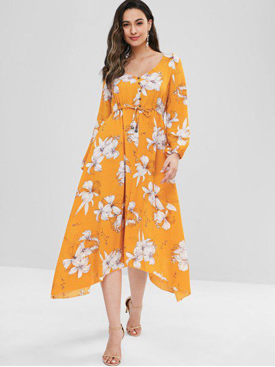 ladies Floral Button Embellished V Neck Dress - BRIGHT YELLOW S