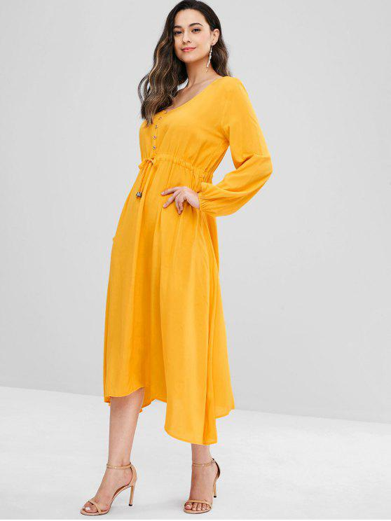 online Button Embellished V Neck Midi Dress - SUN YELLOW S
