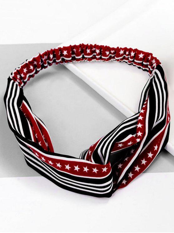 women Cute Stripe Star Pattern Elastic Hairband - RED WINE
