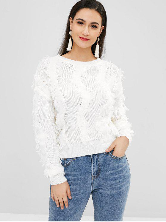 ladies Pullover Frayed Fringes Sweater - WHITE ONE SIZE