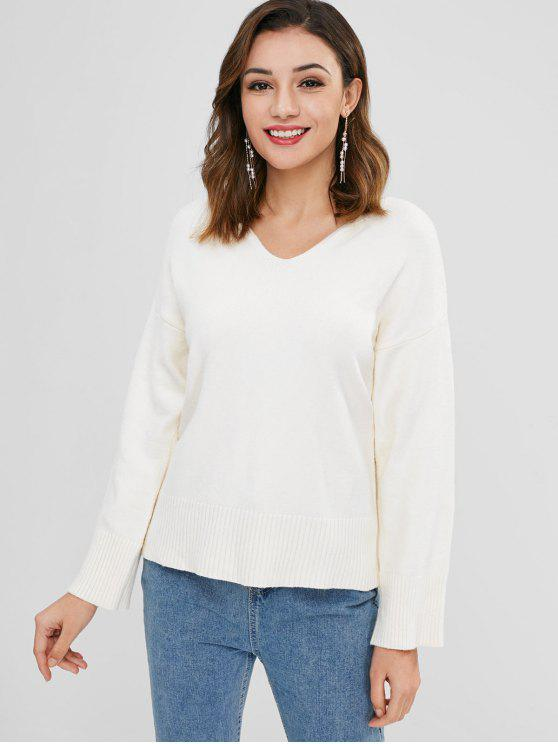 Pull Simple Goutte Epaule à Col V - Blanc Chaud Taille Unique