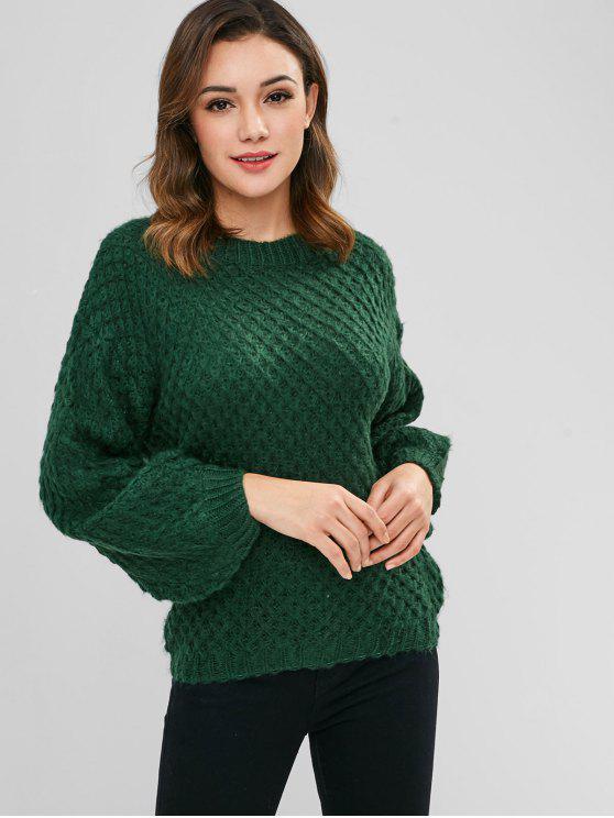 b93cdcb198ca01 2019 Plain Lantern Sleeve Sweater In DEEP GREEN ONE SIZE